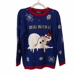 Funny Snowman Christmas Sweater Boys L